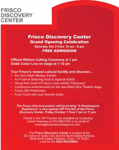 Frisco Discovery Center Grand Opening Flyer