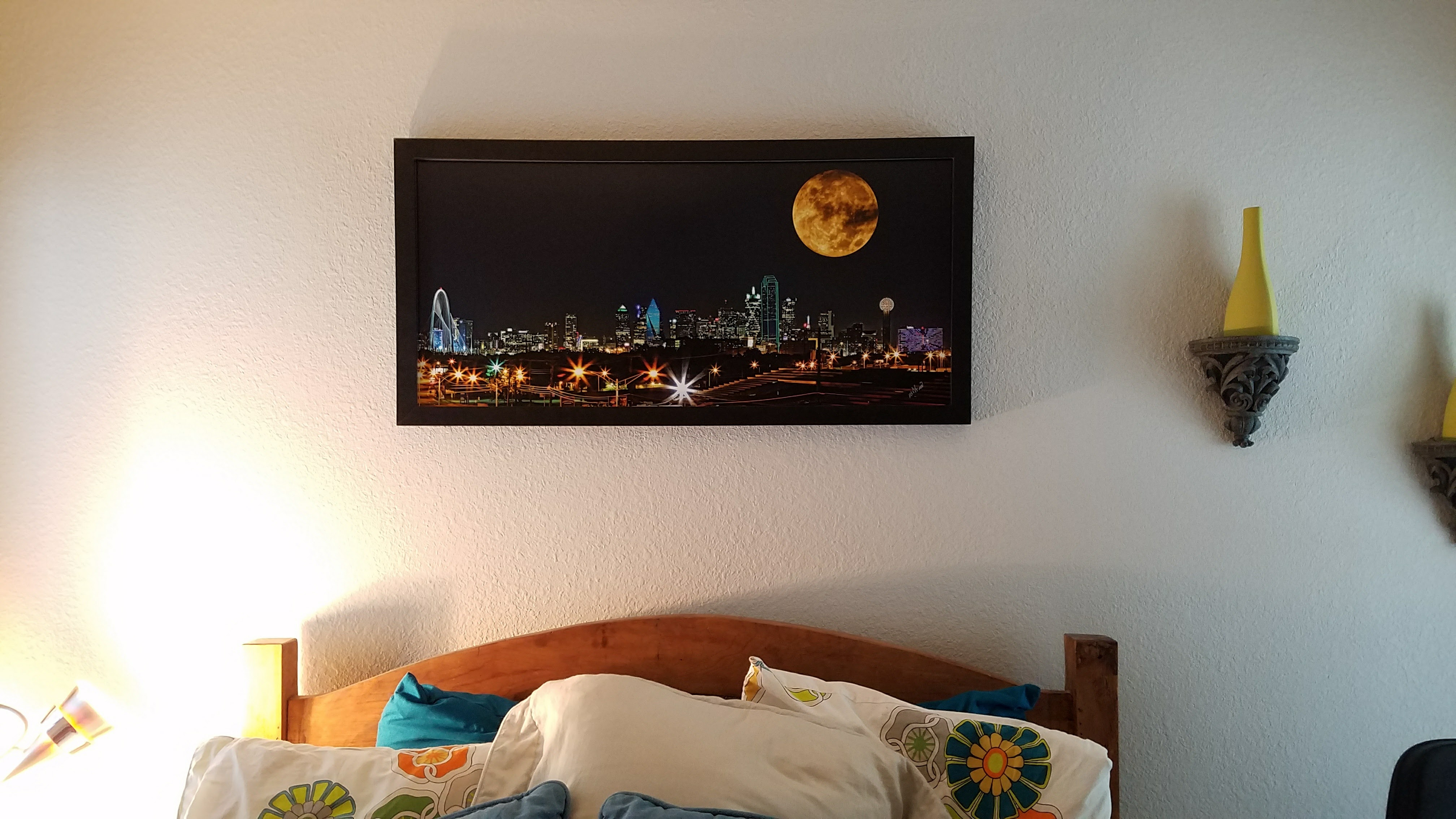 "42"" Wide Skyline over Queen Size Bed"