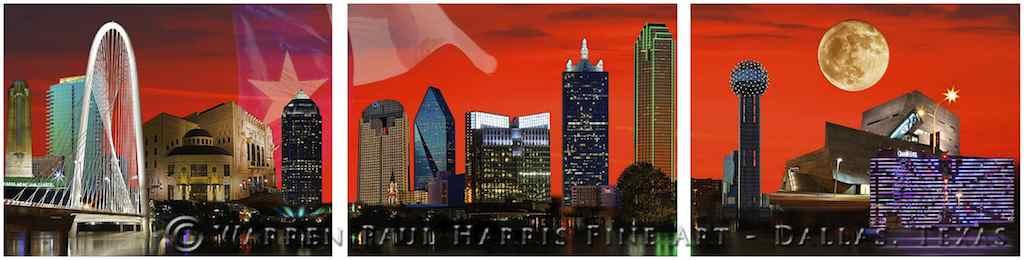 DFW Skyline Triptych